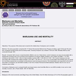 Erowid Cannabis Vault : Journal Ref - Marijuana And Mortality - Sidney 1997