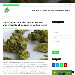 More Popular Cannabis Strains to try for your recreational pleasure or medical needs