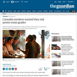 Cannabis smokers warned they risk poorer exam grades