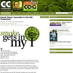 Kaneh Bosm: Cannabis in the Old Testament
