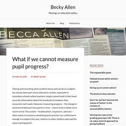 What if we cannot measure pupil progress? – Becky Allen's musings on education policy