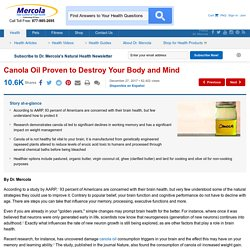 Canola Oil Proven to Destroy Your Body and Mind