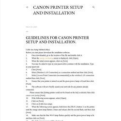 Canon Printer Setup And Installation