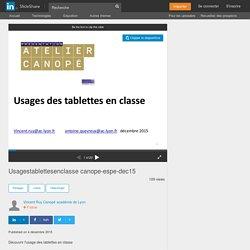 Usages des tablettes en classe (Canopé 69)