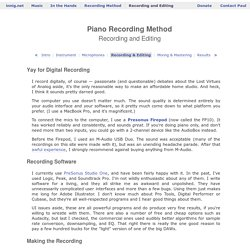 Paul Cantrell's piano recording method: Recording and Editing
