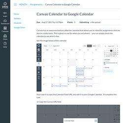 Canvas Calendar to Google Calendar