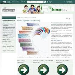 Science capabilities for citizenship / Home - Science Online