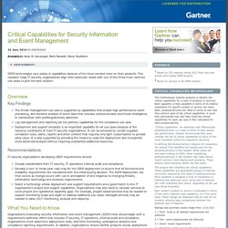 Critical Capabilities for Security Information and Event Management