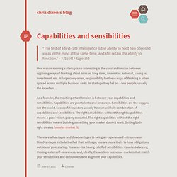 Capabilities and sensibilities