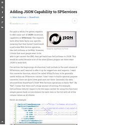 Adding JSON Capability to SPServices