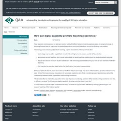 QAA news - How can digital capability promote teaching excellence