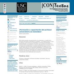 ¿Formación o capacitación del profesor universitario en Colombia?