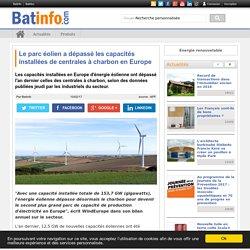 Le parc éolien a dépassé les capacités installées de centrales à charbon en Europe - Batinfo
