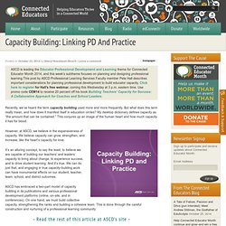 Capacity Building: Linking PD And Practice