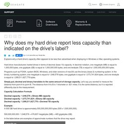 Why does my hard drive report less capacity than indicated on the drive's label?