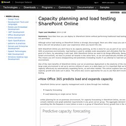 Capacity planning and load testing SharePoint Online