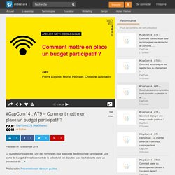 #CapCom14 : AT9 – Comment mettre en place un budget participatif ?