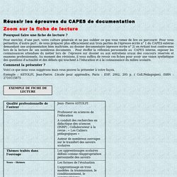 CAPES de documentation : Zoom sur la fiche de lecture