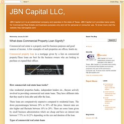 JBN Capital LLC,: What does Commercial Property Loan Signify?