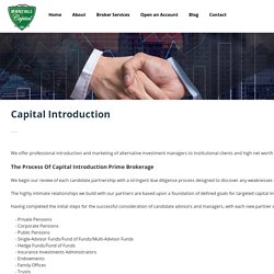 Customized Capital Introduction Prime Brokerage