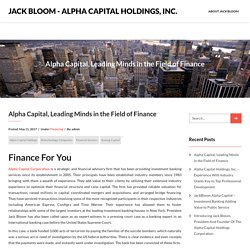 Alpha Capital, Leading Minds in the Field of Finance