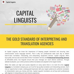 THE GOLD STANDARD OF INTERPRETING AND TRANSLATION AGENCIES