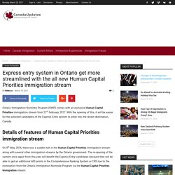 Human Capital Priorities Immigration Stream for Express entry to Ontario