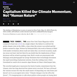 "Capitalism Killed Our Climate Momentum, Not ""Human Nature"""