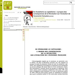 Du féodalisme au capitalisme : à propos des conséquences de la Révolution sur l'évolution de l'économie française