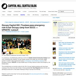 Trustees pass emergency rule to bar Occupy camp from SCCC
