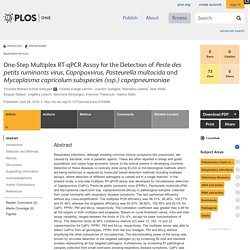 PLOS 28/04/16 One-Step Multiplex RT-qPCR Assay for the Detection of Peste des petits ruminants virus, Capripoxvirus, Pasteurella multocida and Mycoplasma capricolum subspecies (ssp.) capripneumoniae