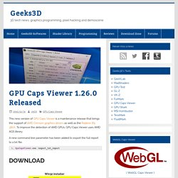 GPU Caps Viewer 1.26.0 Released – Geeks3D
