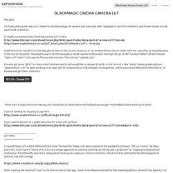 Blackmagic Cinema Camera LUT
