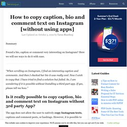 How to copy caption, bio and comment text on Instagram [without using apps]