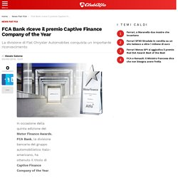 FCA Bank riceve il premio Captive Finance Company of the Year - ClubAlfa.it
