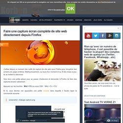 Faire une capture écran complète de site web directement depuis Firefox