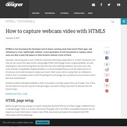 How to capture webcam video with HTML5