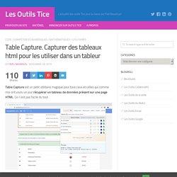 Table Capture. Capturer des tableaux html pour les utiliser dans un tableur