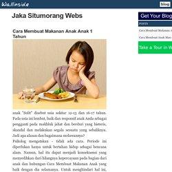 Cara Membuat Makanan Anak Anak 1 Tahun