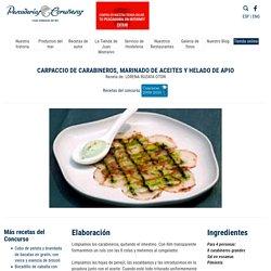 Carpaccio de carabineros, marinado de aceites y helado de apio - Recetas - Productos del Mar - Pescaderias Coruñesas