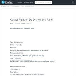 Caract Risation De Disneyland Paris - Compte Rendu - 332 Mots