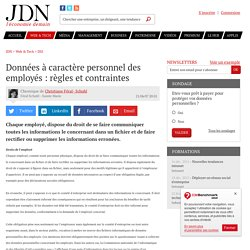 Données à caractère personnel des employés : règles et contraintes