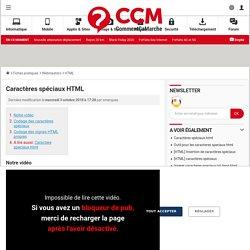 Caractères spéciaux HTML