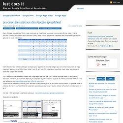 Les caractères spéciaux dans Google Spreadsheet