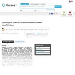 UNIVERSITE DE GRENOBLE 04/11/13 Thèse en cours : Détection rapide et caractérisation de bactéries pathogènes sur microsystèmes