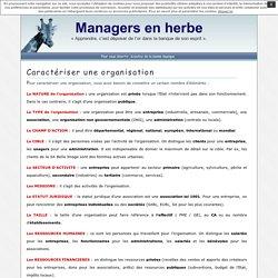 Managers en herbe » Caractériser une organisation