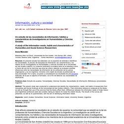Un estudio de las necesidades de información, hábitos y características de investigadores en Humanidades y Ciencias Sociales