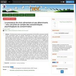 UNIVERSITE DE SAVOIE 27/10/06 Thèse en ligne : Le processus de choix alimentaire et ses déterminants : vers une prise en compte des caractéristiques psychologiques du consommateur
