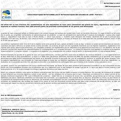 CARACTERISTIQUES NUTRITIONNELLES ET NUTRACEUTIQUES DES GRAINES DE LUPIN - PARTIE I -