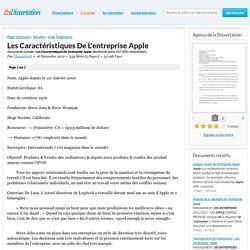 Les Caractéristiques De L'entreprise Apple - Documents Gratuits - Chouette06